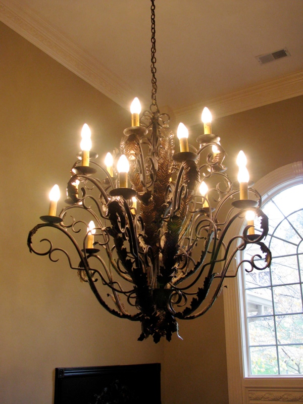 Darkened chandelier