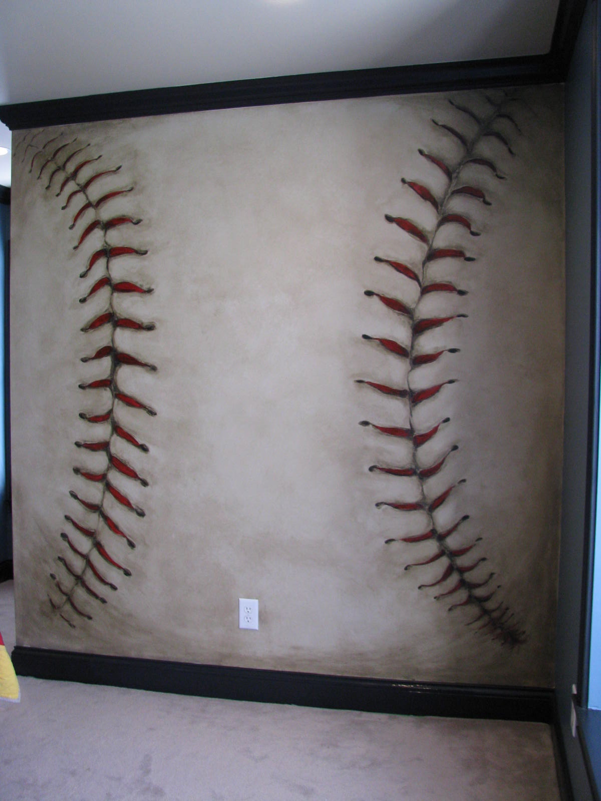 Baseball mural anyone - How to paint murals on bedroom walls ...