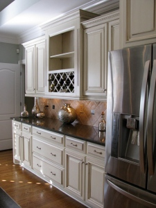Beautiful off white cabinets with dark brown glaze