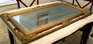 Damaged mirror frame