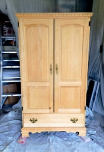Raw wood armoire
